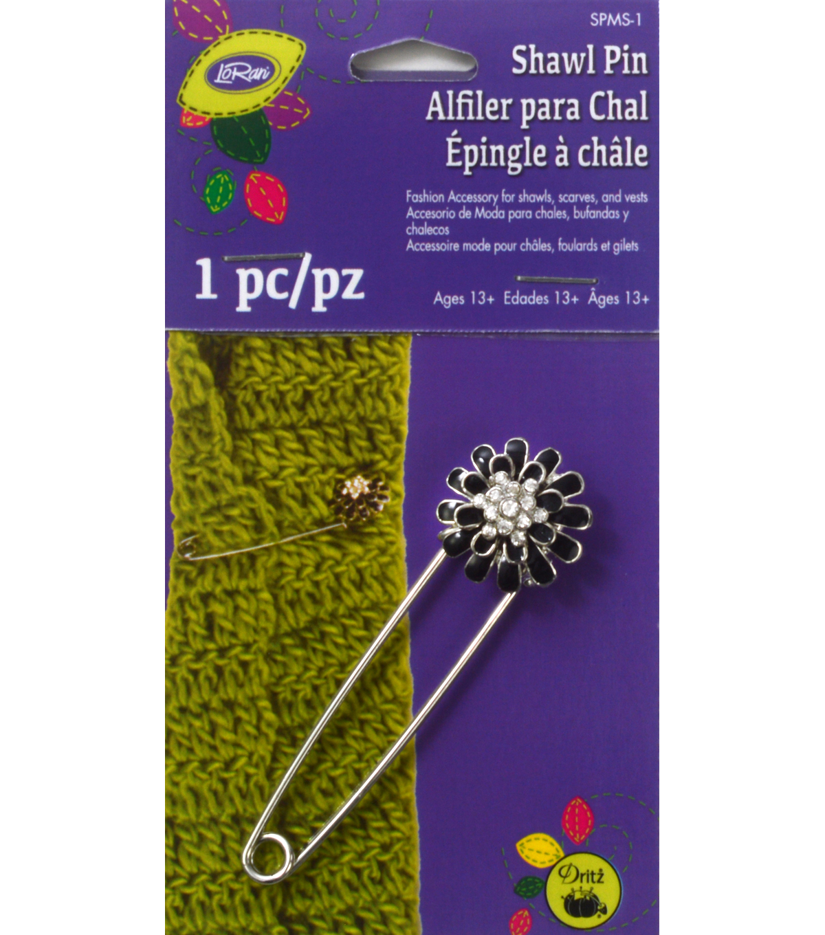 Daisy Flower with Stones Shawl Pin Black/Silver