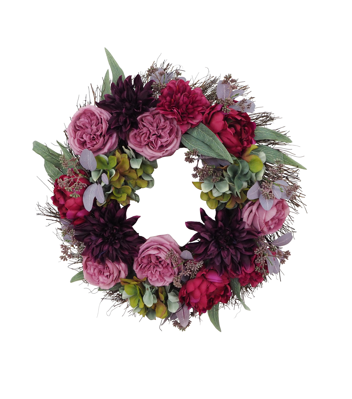 Blooming Autumn Moody Floral Wreath-Purple