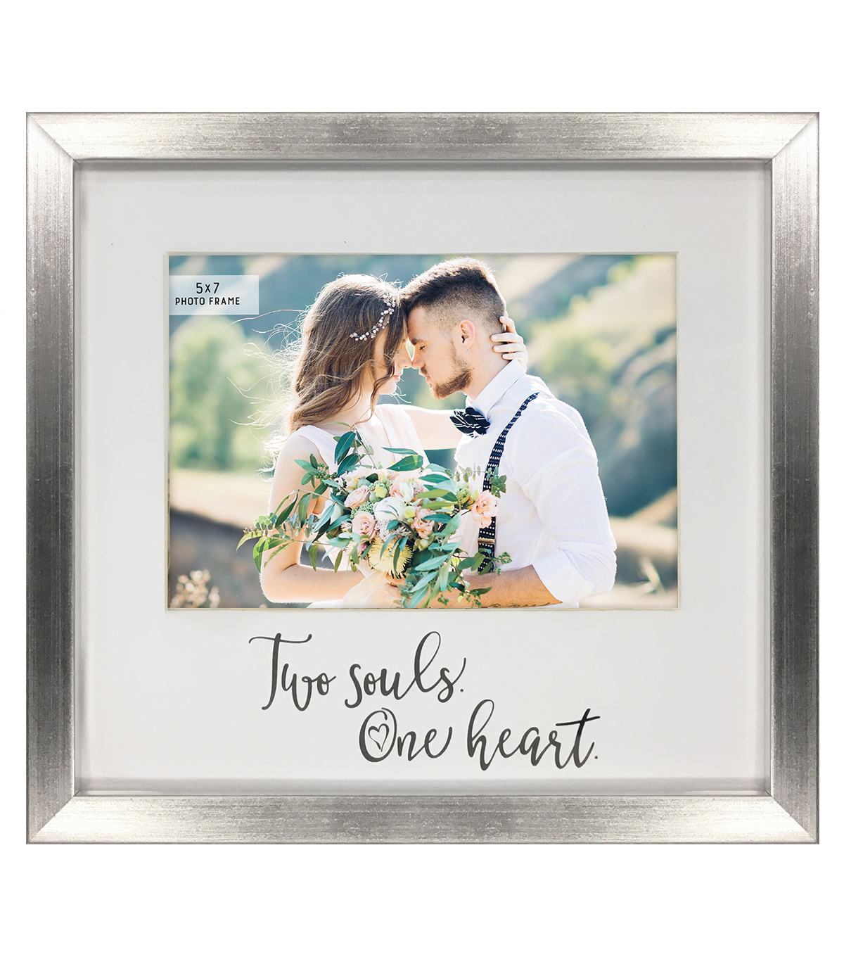 Silver Two Souls One Heart  5\u0022x7\u0022 Picture Frame