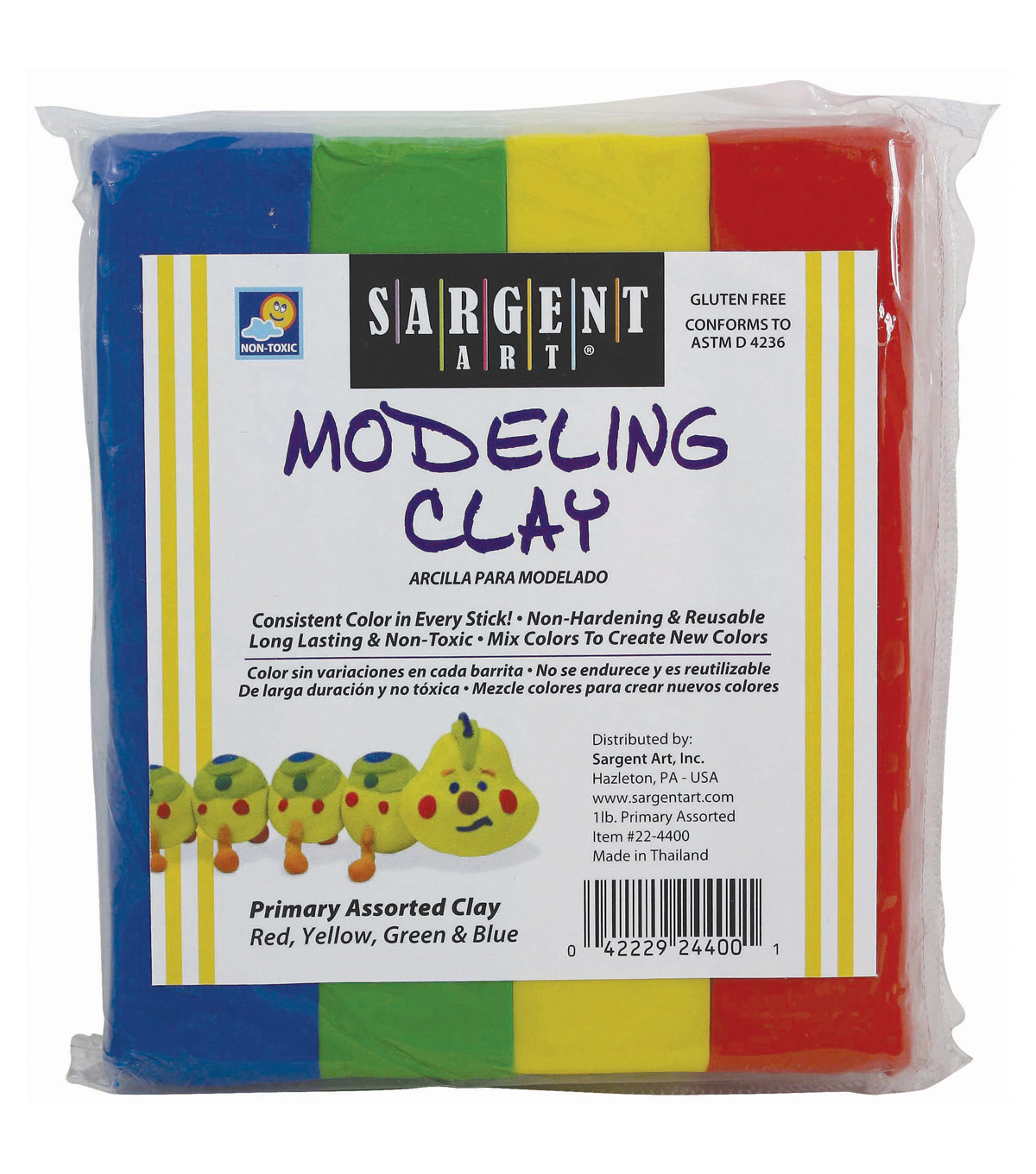 Sargent Art Modeling Clay, Primary Colors, Pack of 12 packs
