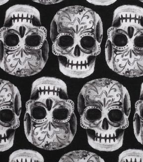 Halloween Cotton Fabric Skeleton Sugar Skulls
