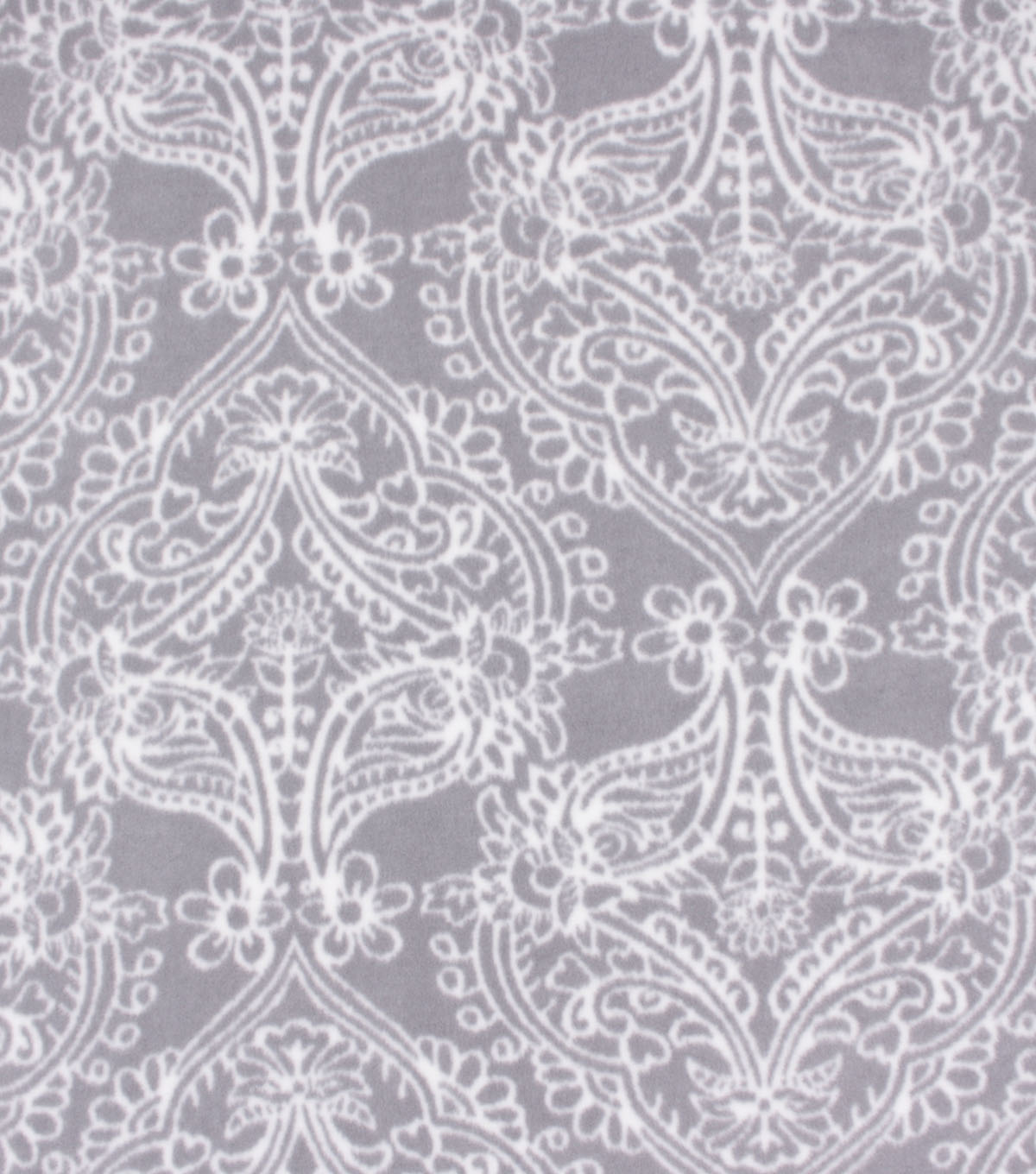 Anti-Pill Plush Fleece Fabric-White Damask on Gray