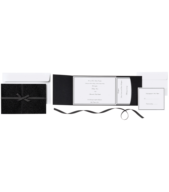 Invitation Kit Black Glitter 25ct | JOANN