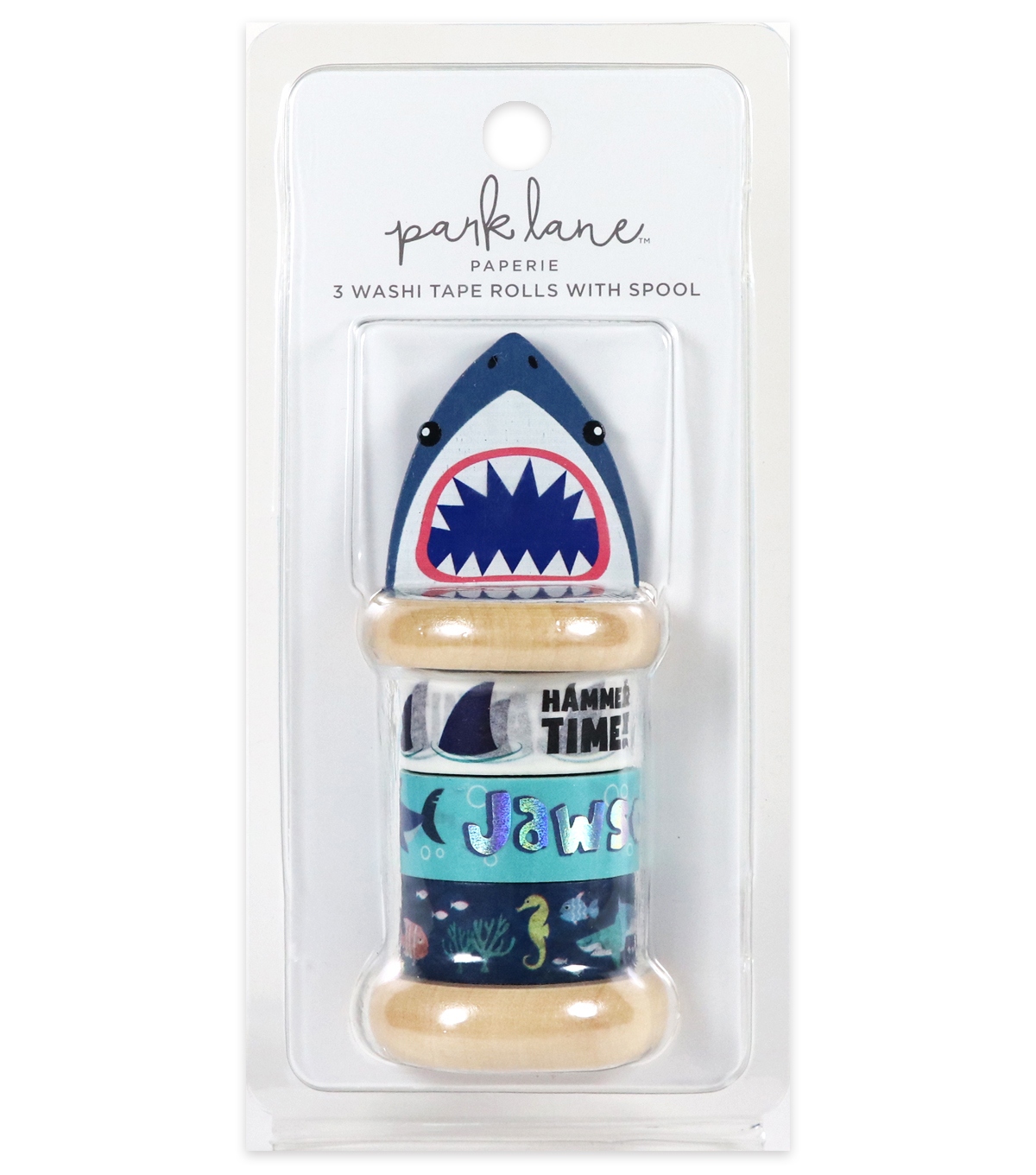 Park Lane Paperie 3 pk Washi Tape Rolls with Spool-Shark