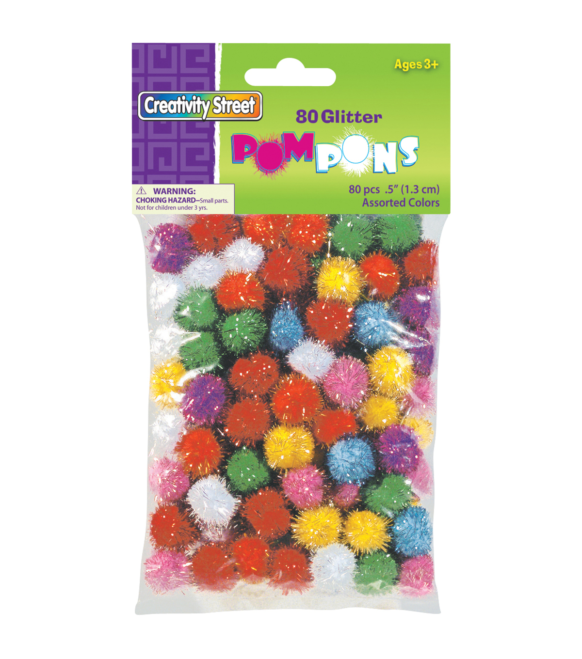 Pom Poms Glitter Pack 80/Pkg-Assorted Colors & Sizes