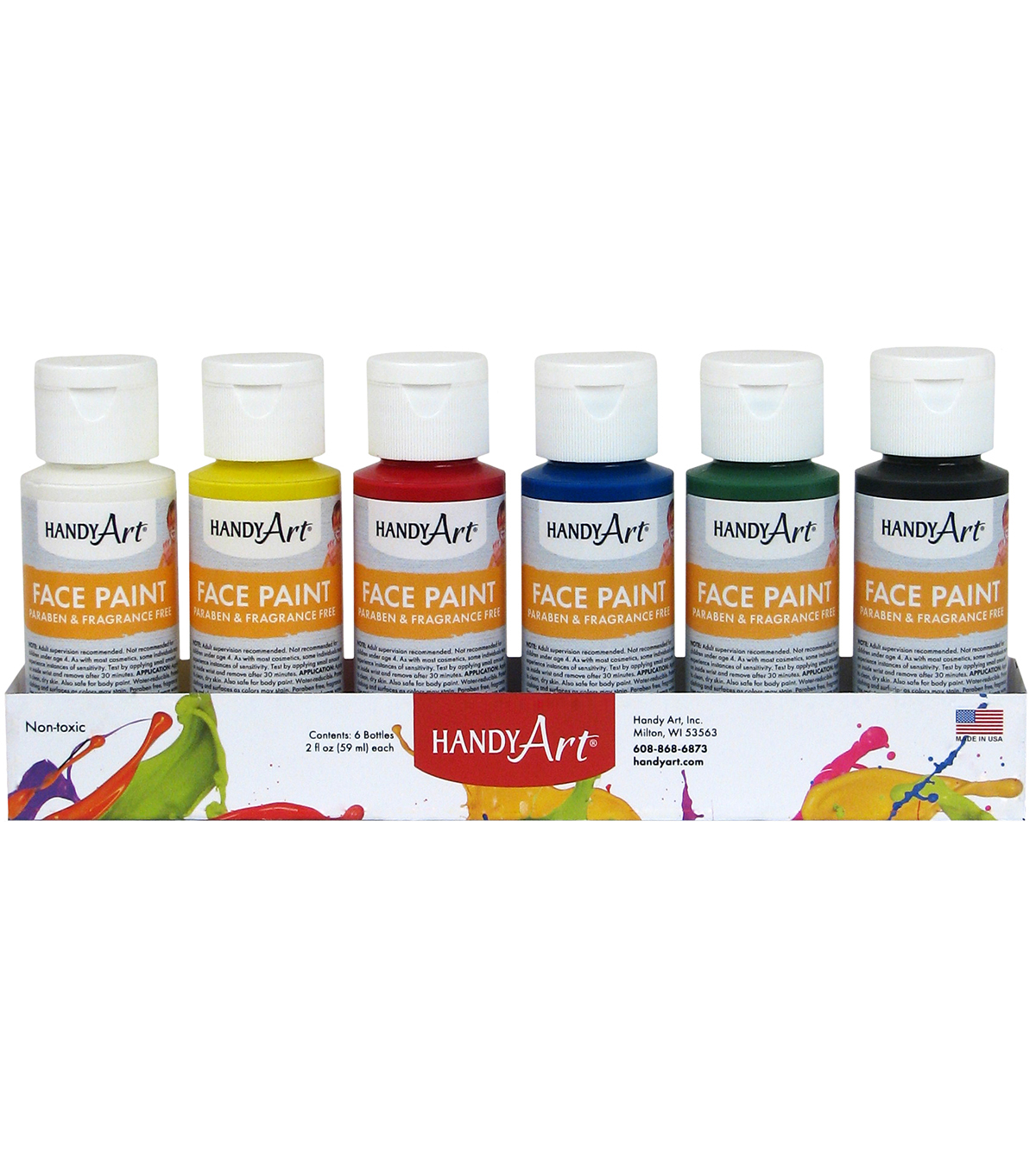 Handy Art Tempera Face Paint 2oz 6/Pkg-Primary