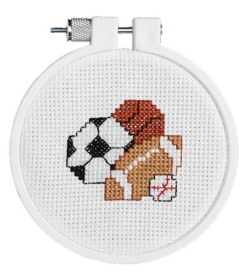 Play Ball Mini Counted Cross Stitch Kit-3\u0022 Round 14 Count