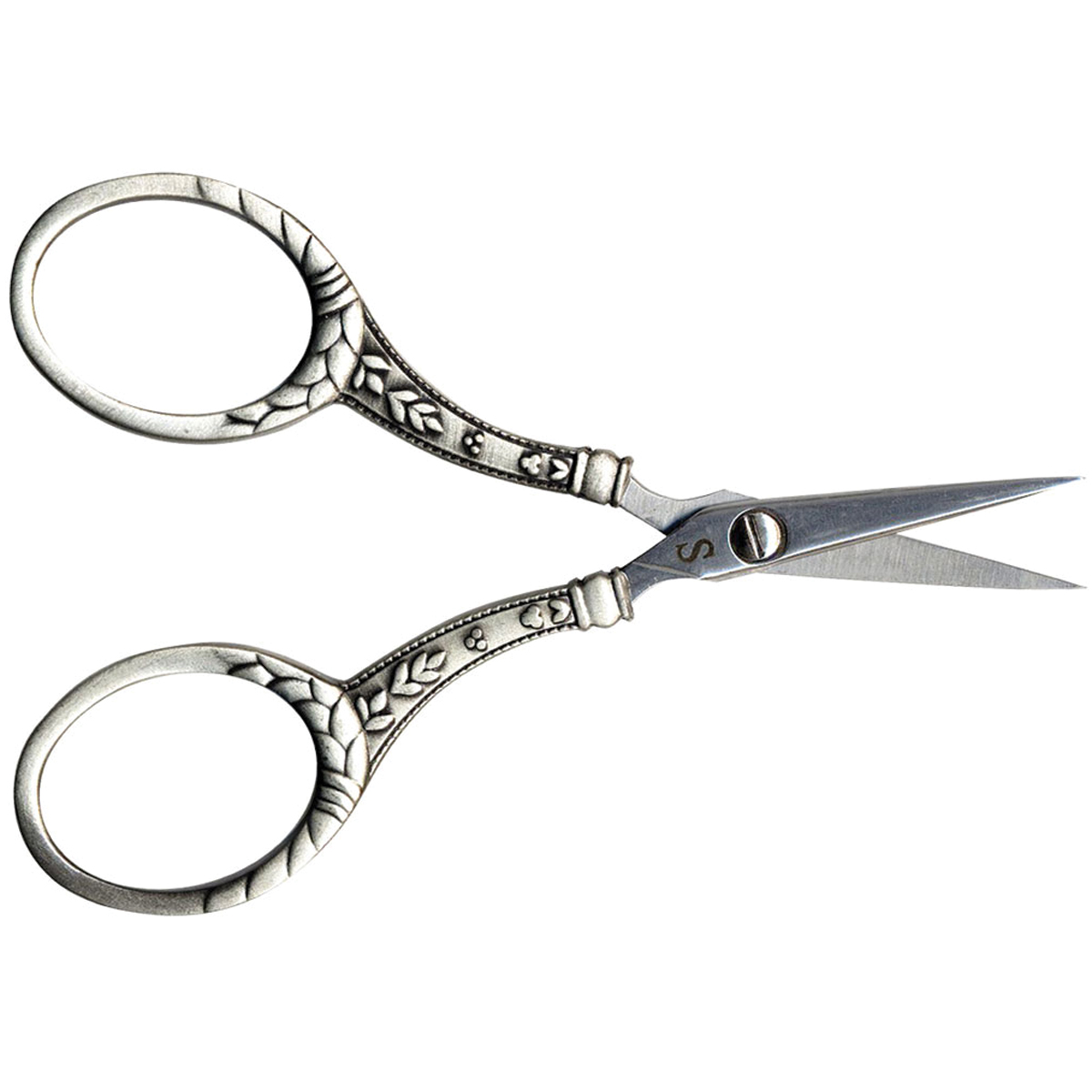 Stainless Steel Embroidery Scissors 4\u0022-Silver Round
