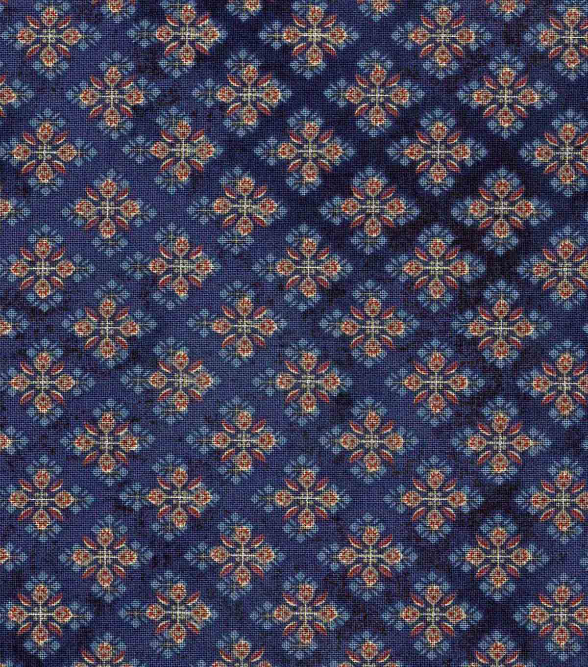Vintage Cotton Fabric 43\u0022-Detailed Diamonds Blue