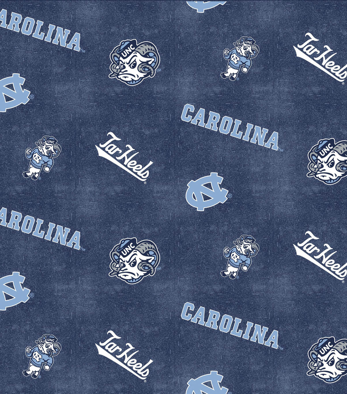 University of North Carolina Tarheels Flannel Fabric 42\u0022-Distressed Logo