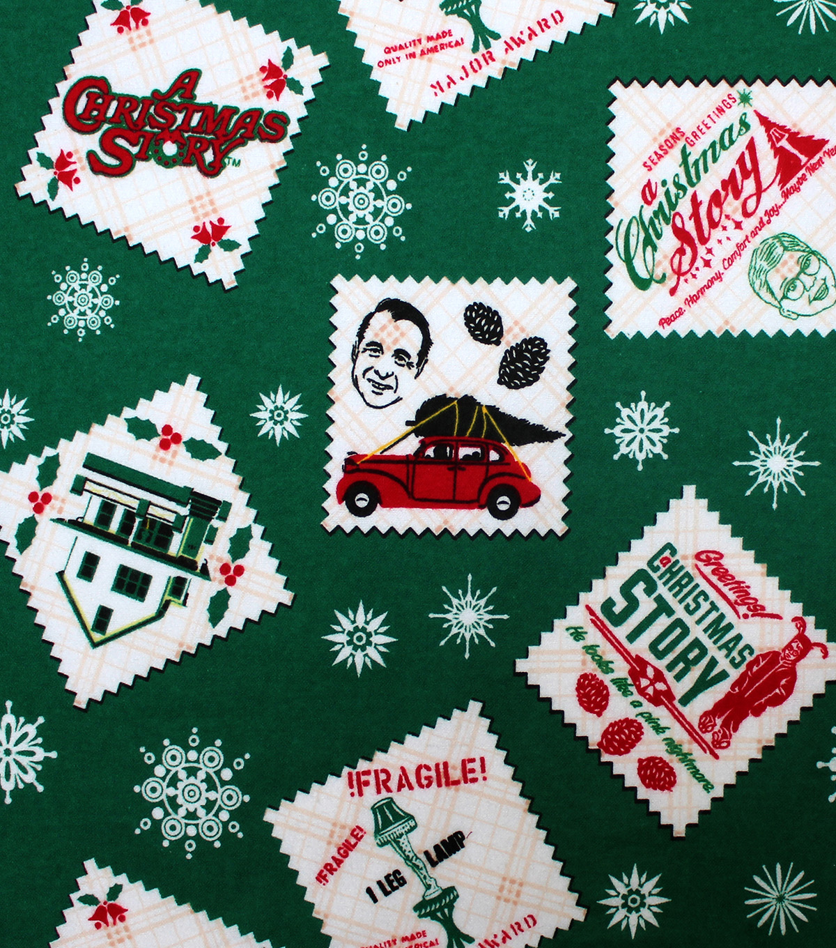 a christmas story flannel fabric 42u0022 stamps - When Was Christmas Story Made