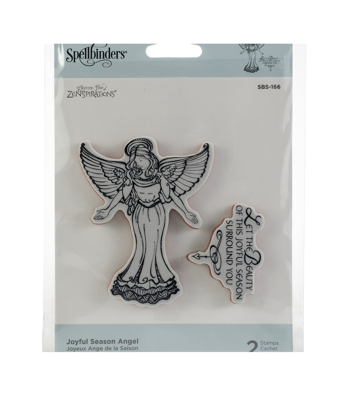 Spellbinders Zenspired Holidays 2 pk Cling Stamps-Joyful Season Angel