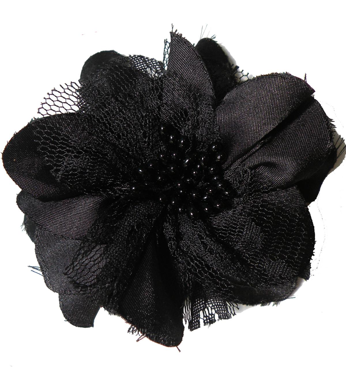 Satin Lace Flower Pin Black Joann