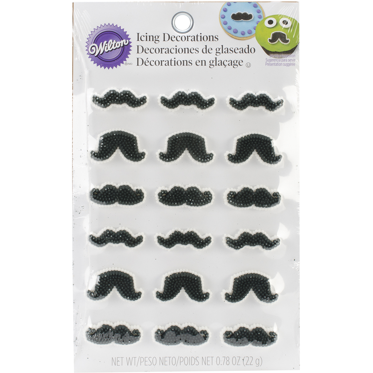 Icing Decorations 18/Pkg-Mustache Shapes