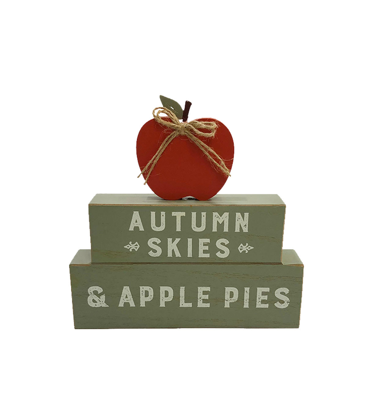 Simply Autumn Stacked Figural Apple Word Block-Autumn Skies & Apple Pies