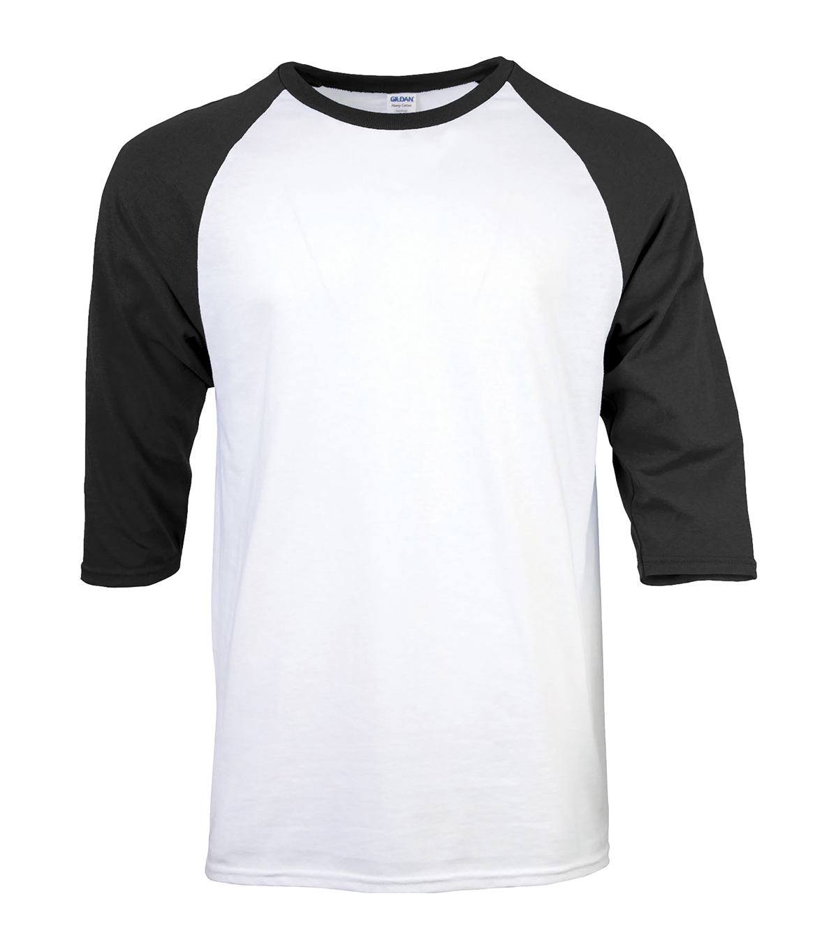 Gildan Large Adult Raglan Crew Sport T-Shirt, White-black