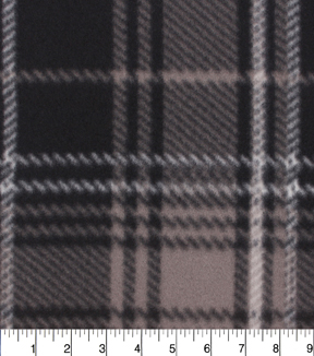 Blizzard Fleece Fabric 59\u0022-Black Gray Plaid