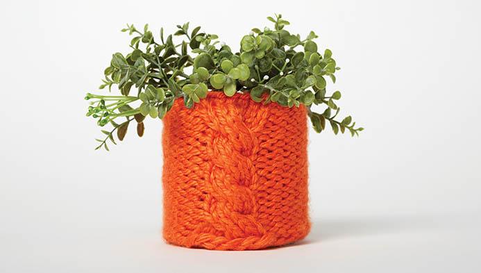 Cable Knit Flower Pot