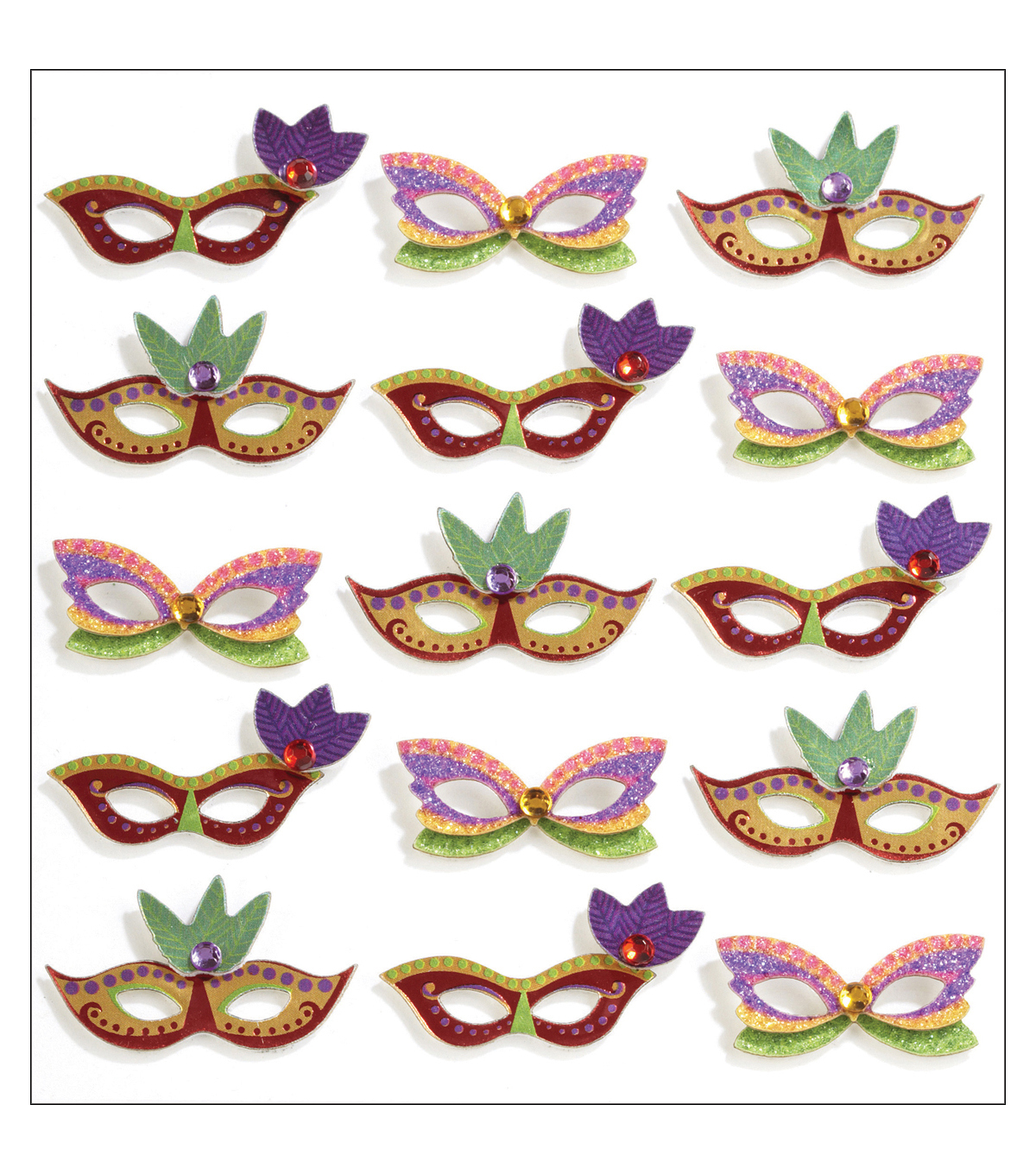 Jolee\u0027s Mini Repeats Stickers-Mardi Gras Masks