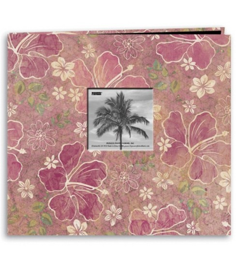 Pioneer 12x12 Postbound  Album Tropical Print W/Frame-Hybiscus