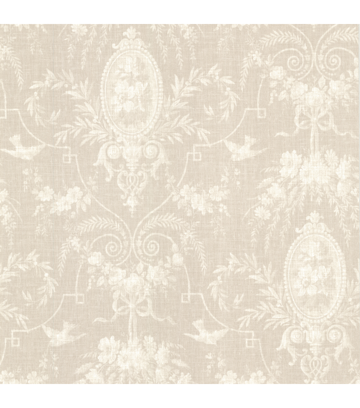 Flourish Taupe Cameo Fleur Wallpaper Sample