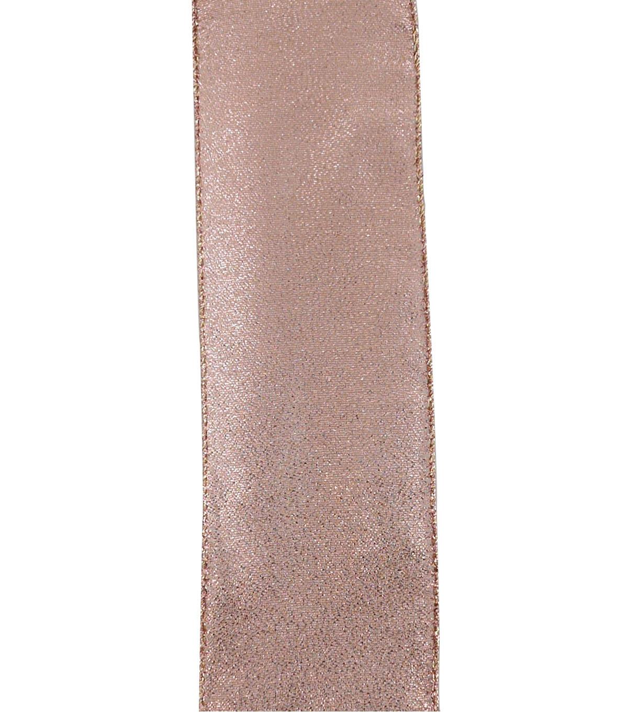 Maker's Holiday Christmas Metallic Ribbon 2 5''x25'-Rose Gold Texture