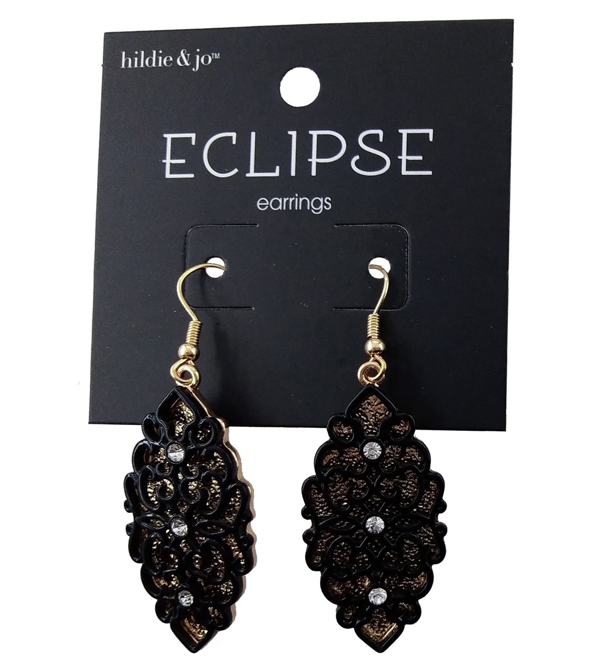 hildie & jo Eclipse Earrings-Gold Background Black Cute Out
