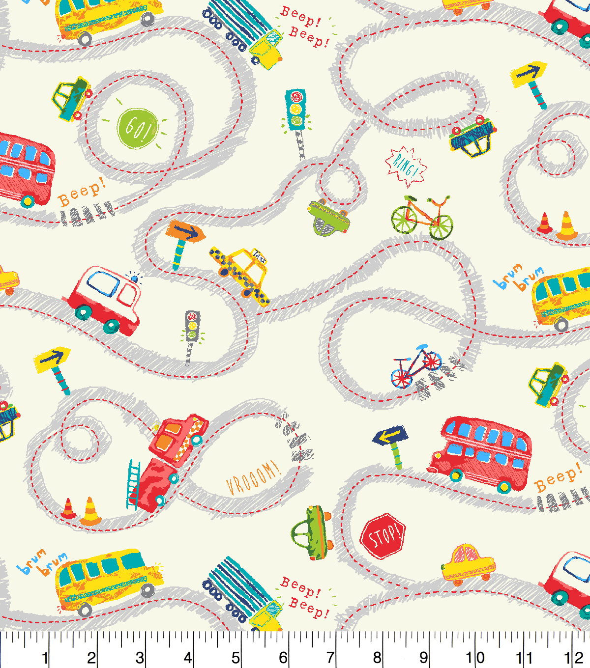 Snuggle Flannel Fabric -Sketched Transportation