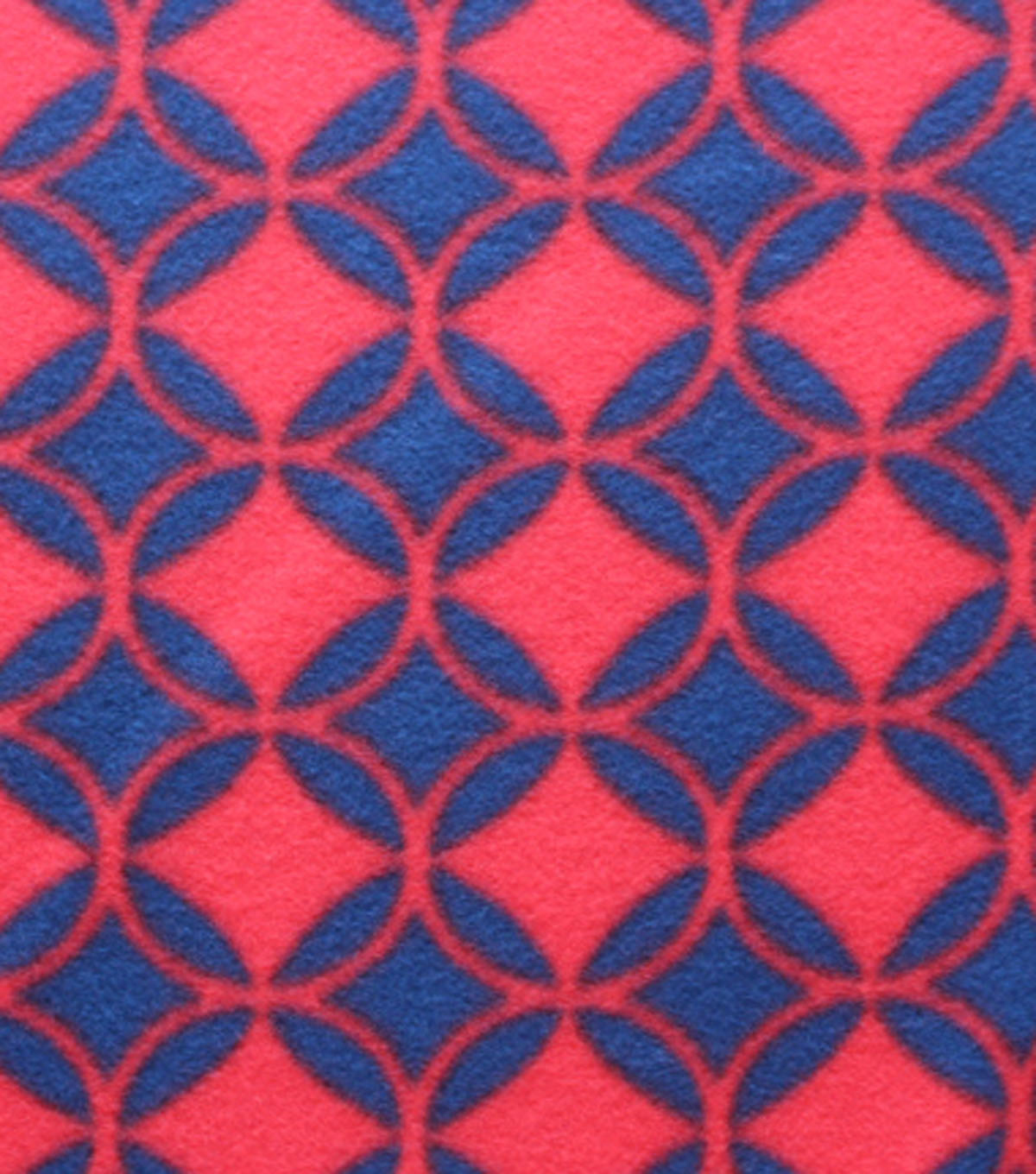Blizzard Fleece Fabric - Navy Red Diamonds