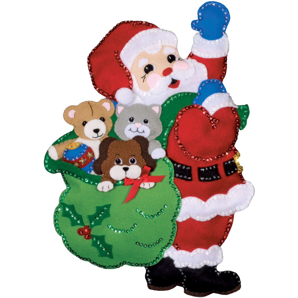 Design Works Wall Hanging Felt Applique Kit Santa And Friends