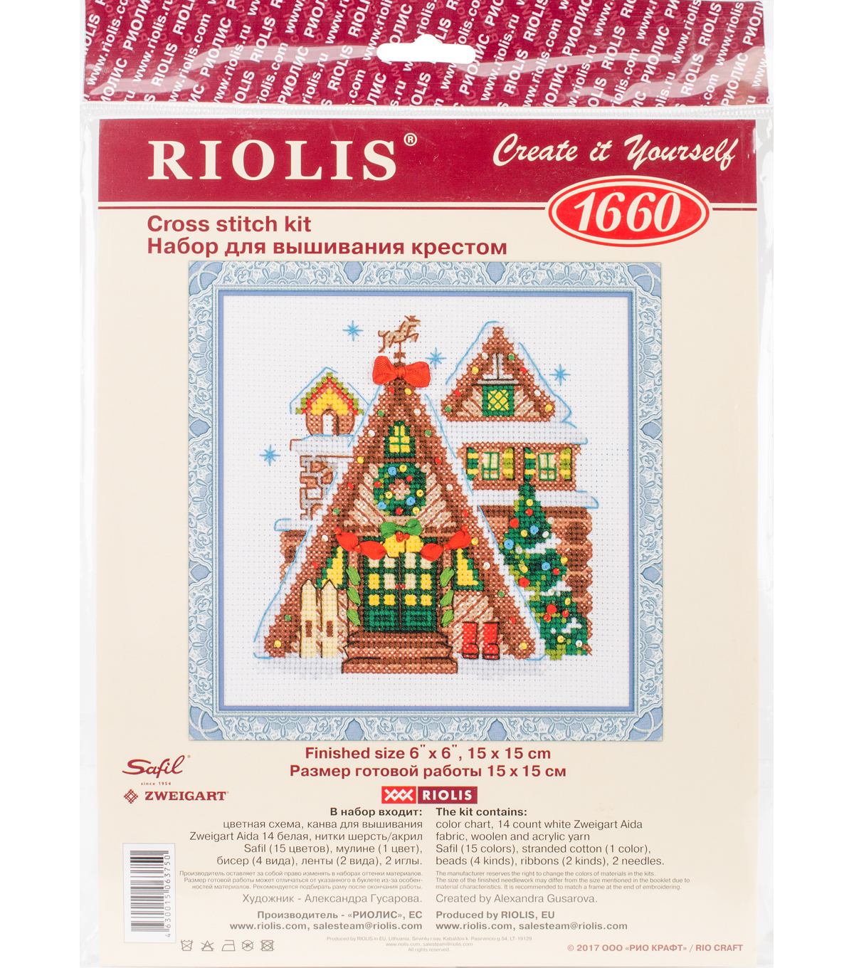 RIOLIS Create it Yourself 6''x6'' Counted Cross Stitch Kit-Winter Cabin