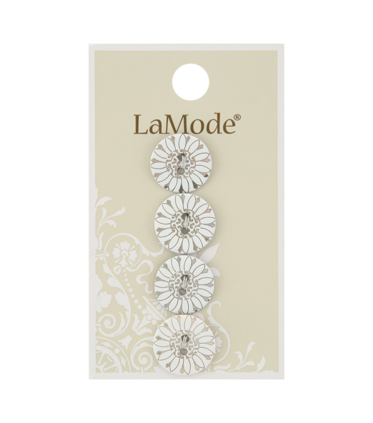LaMode 5/8\u0022 Button-White Agoya Shell 2 Hole with Flower Design