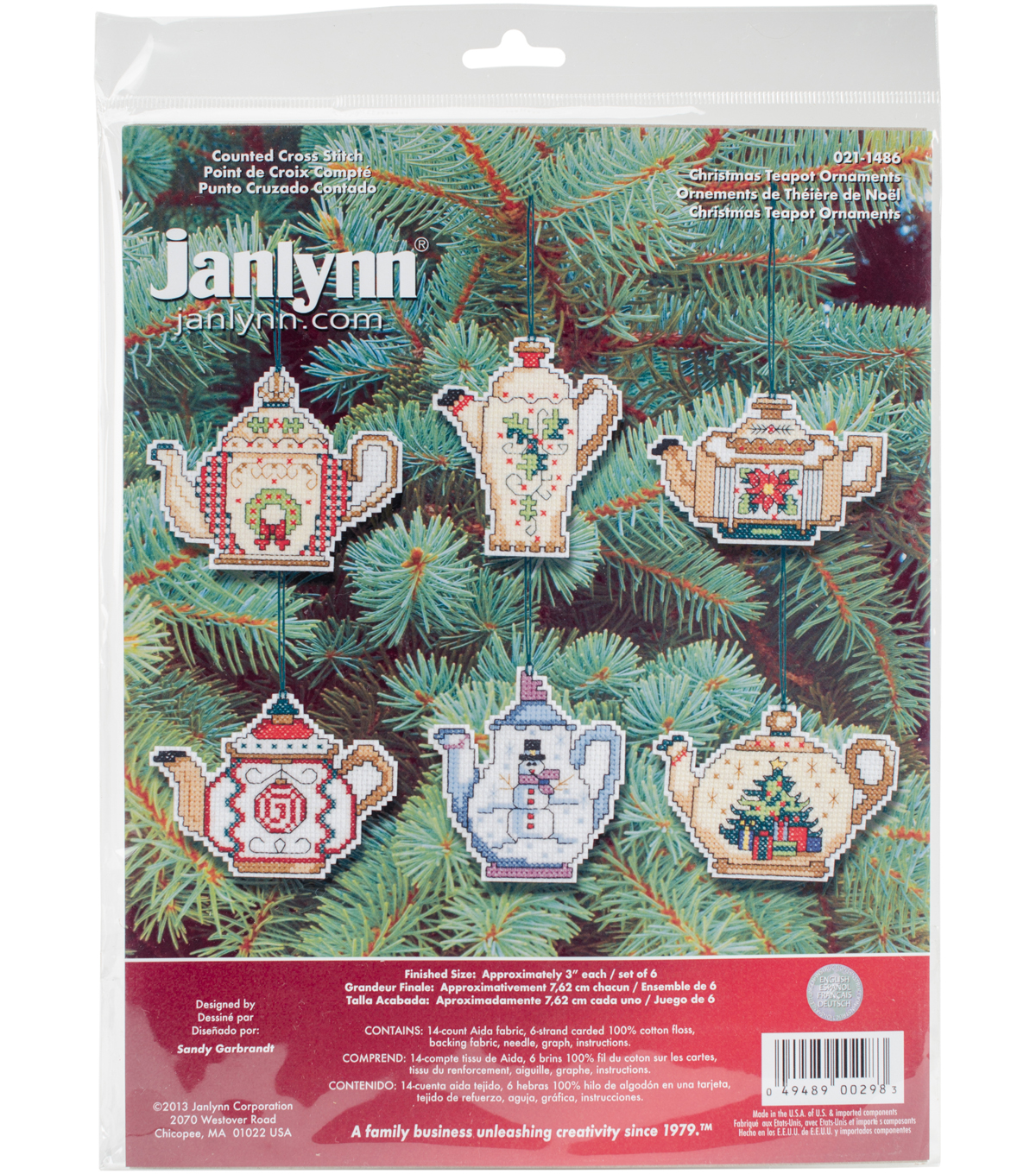 Christmas Teapot Ornaments Counted Cross Stitch Kit-3\u0022 Set Of 6