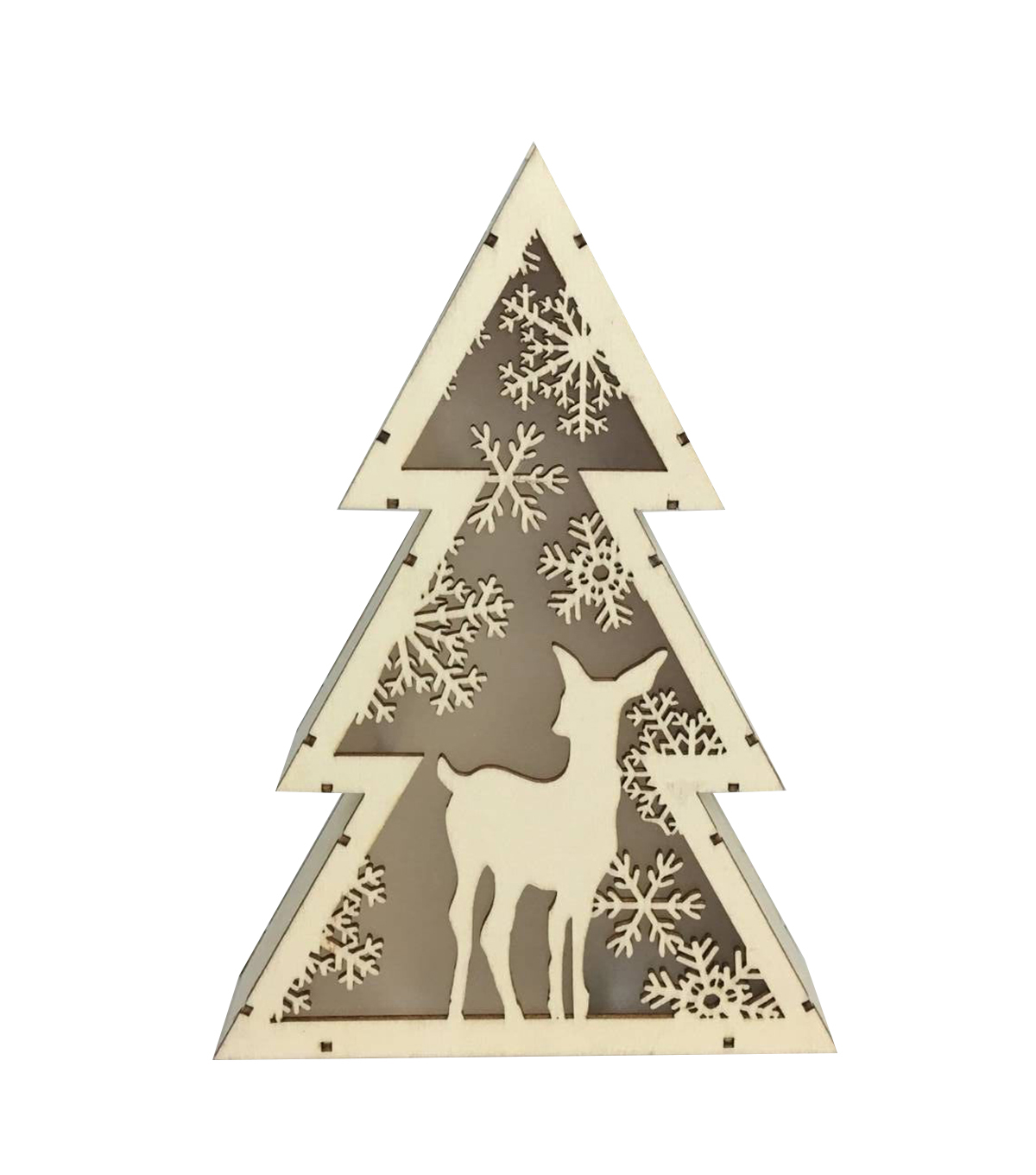 Maker\u0027s Holiday Craft Wood Décor-Tree with Deer LED