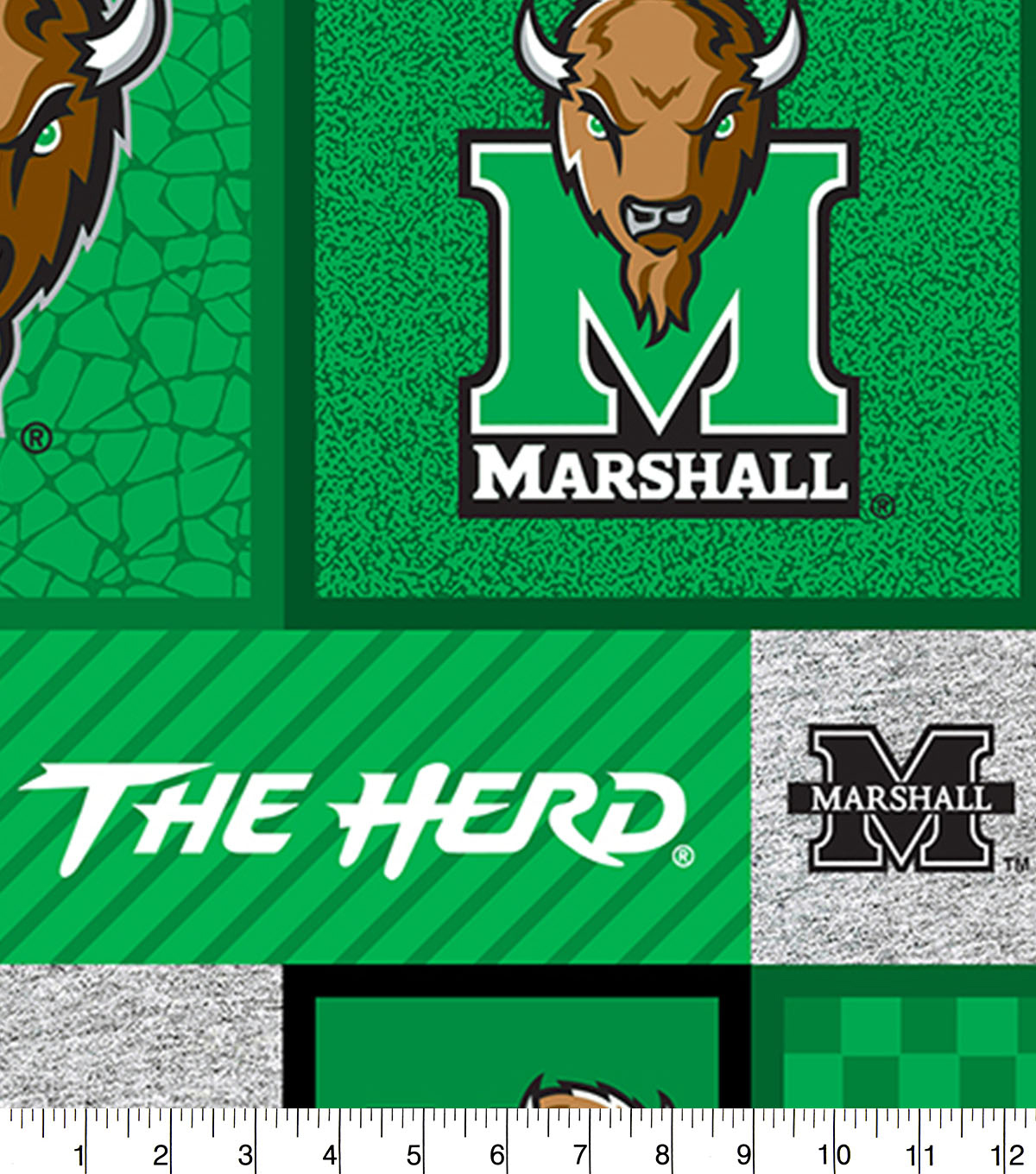 Marshall University Thundering Herd Fleece Fabric-College Patch