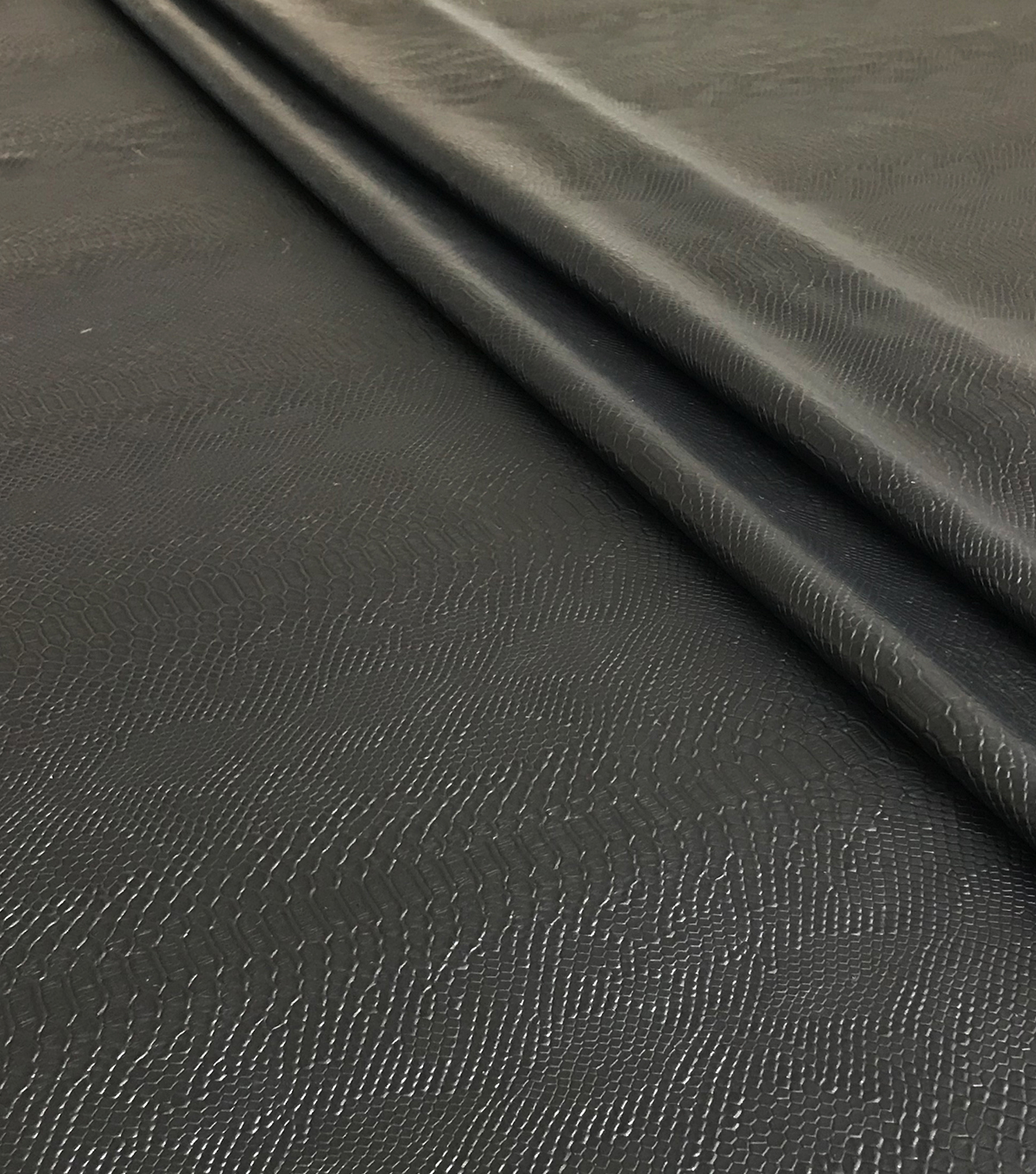 Faux Leather Fabric 56\u0022-Black Reptile