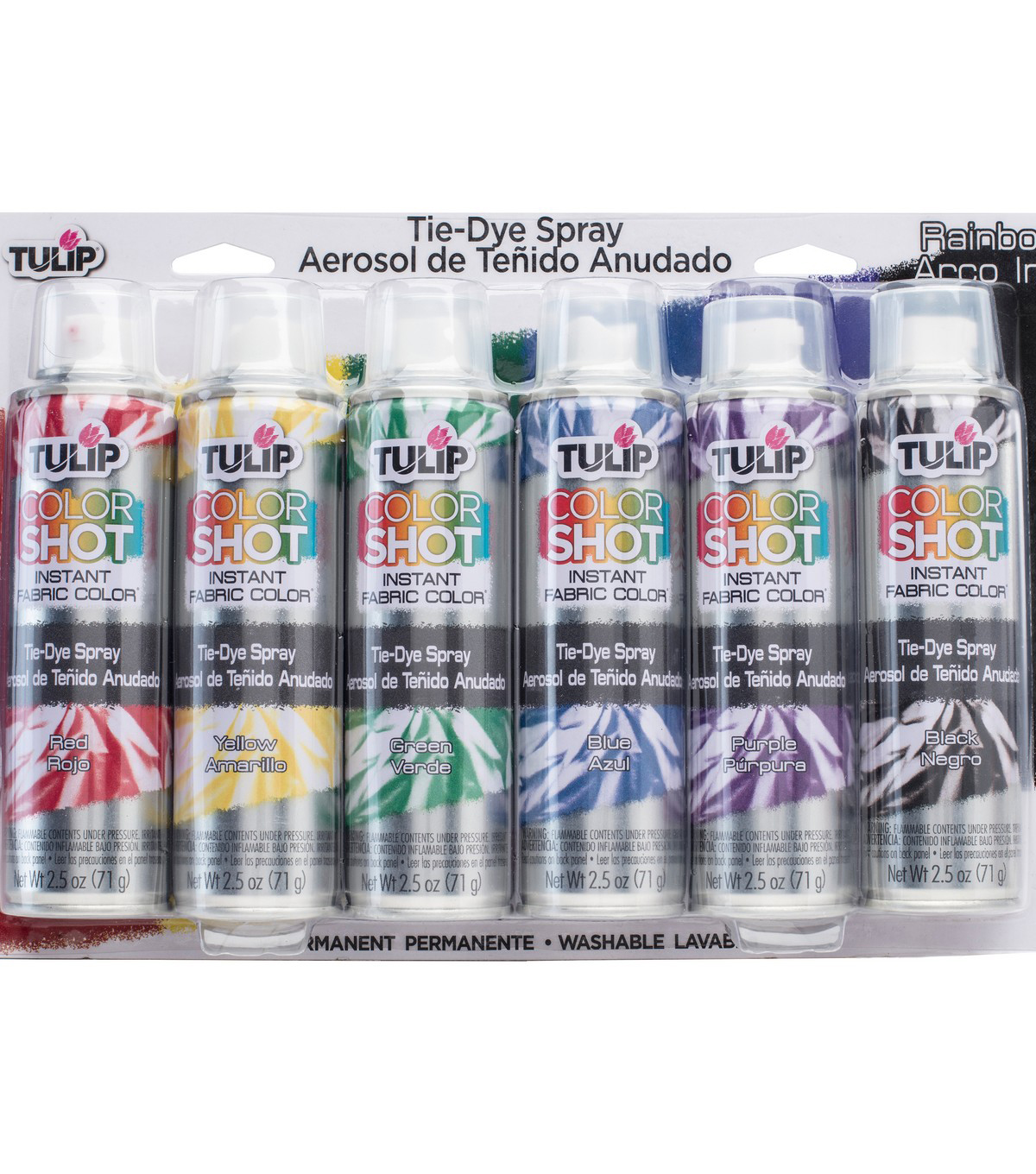 Tulip ColorShot 6 pk Instant Fabric Color Tie-Dye Sprays-Rainbow