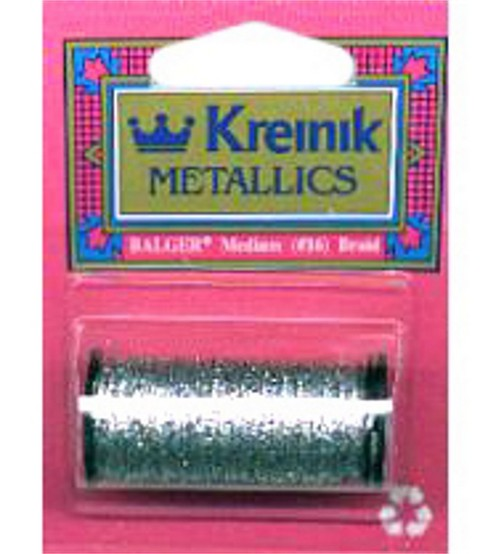Kreinik Braid Metallic Thread Medium Size 16, Hi Lustre Silver