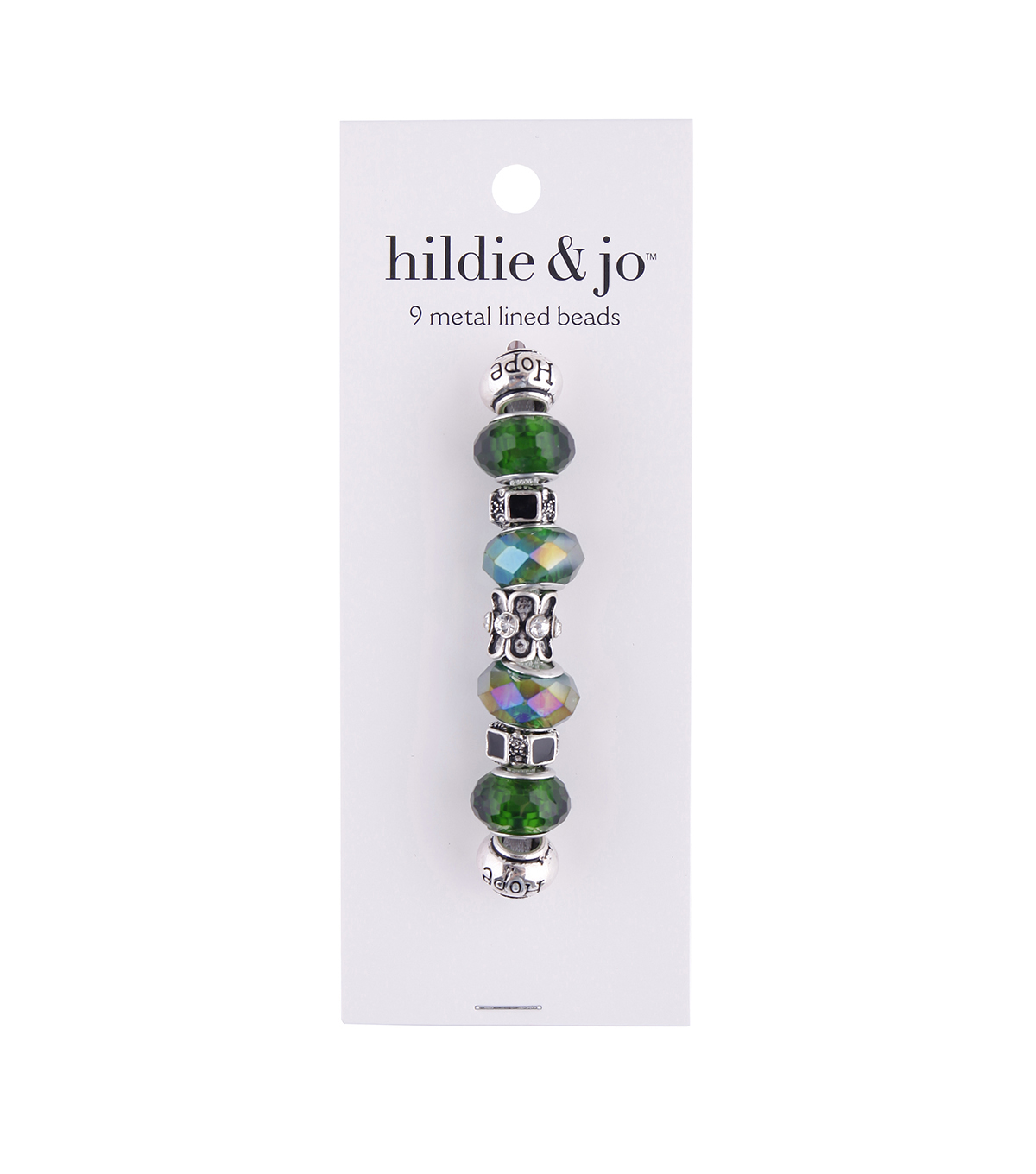 hildie & jo 9 pk Metal Lined Glass Beads-Black & Green