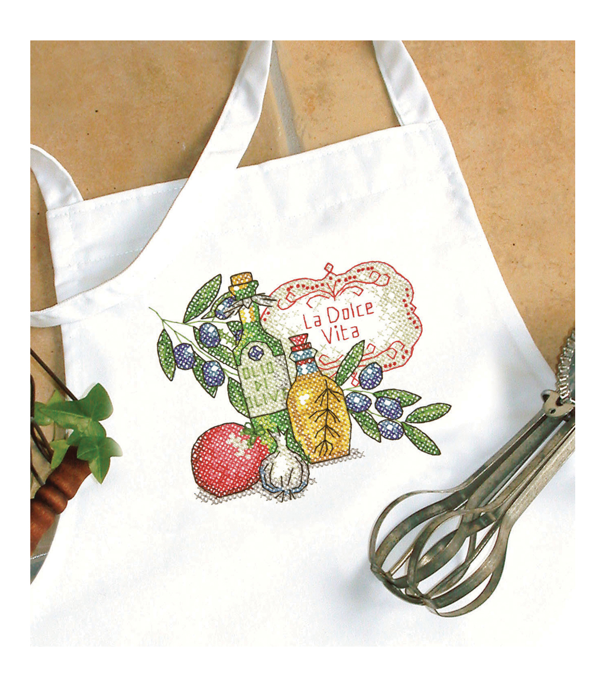 Tuscan Flavor Apron Stamped Cross Stitch-