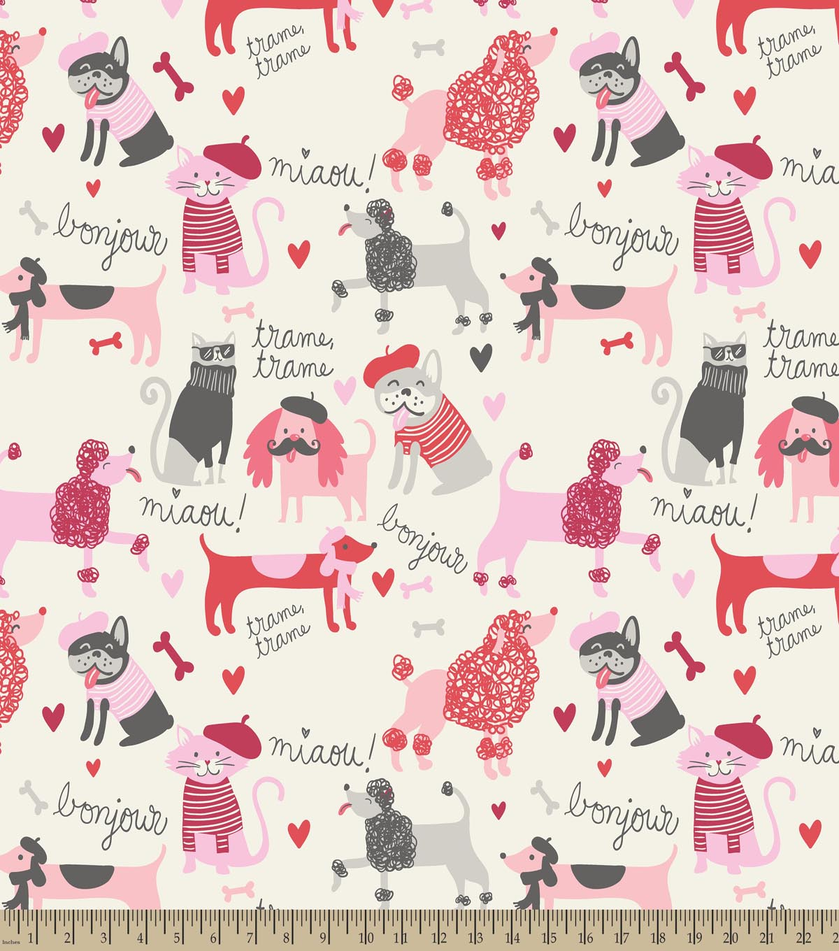 French Dogs Print Fabric