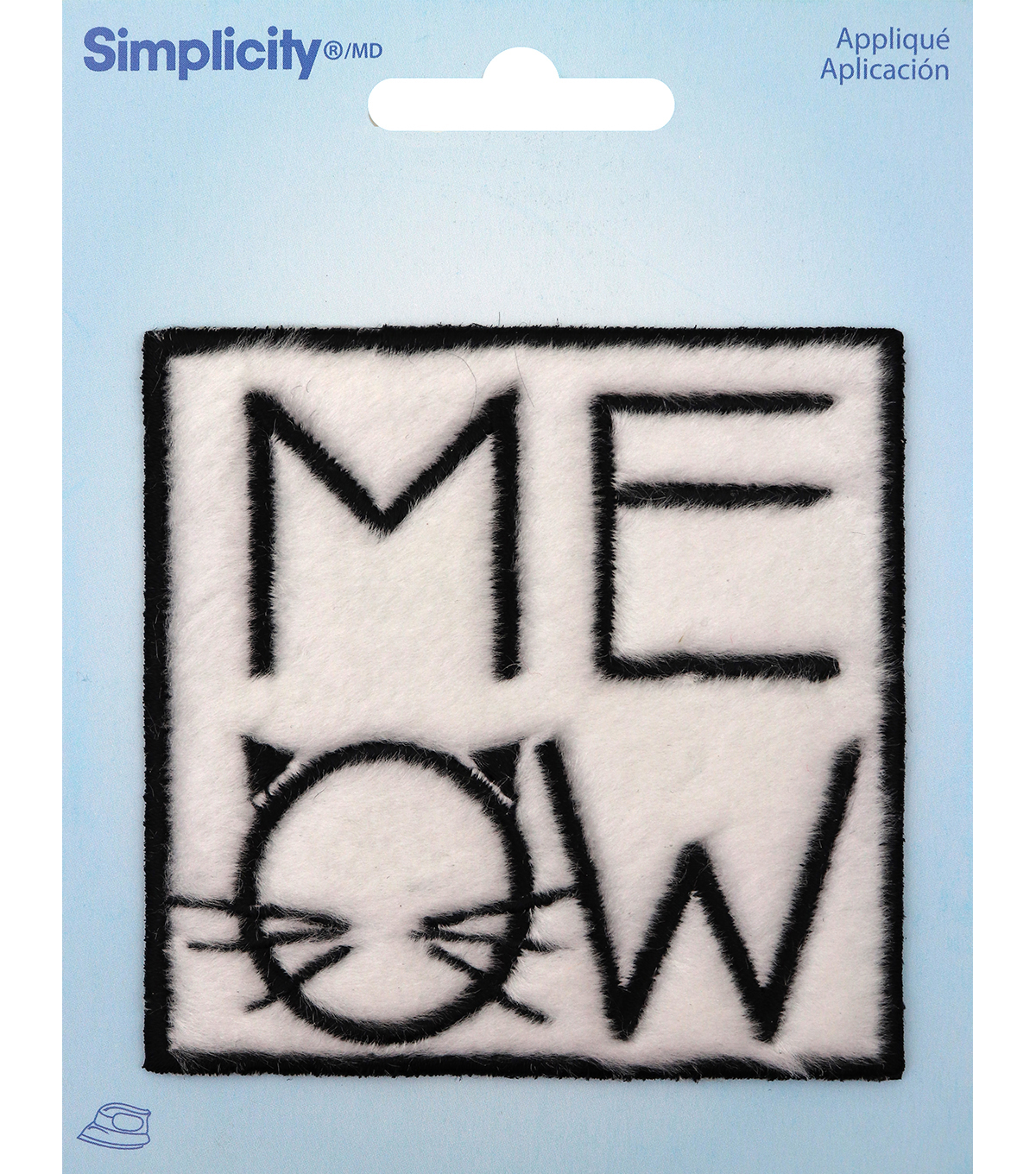 Simplicity Faux Fur Square Iron-on Applique-Black Meow on White