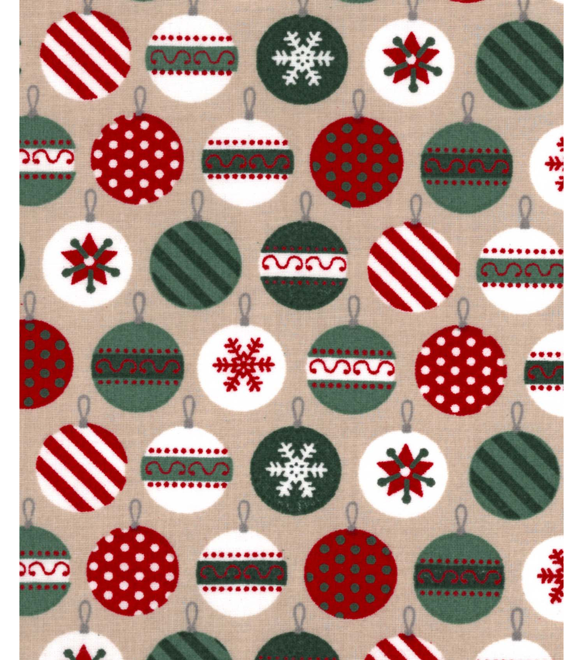 Holiday Showcase Christmas Cotton Fabric 43\u0027\u0027-Packed Ornaments on Beige