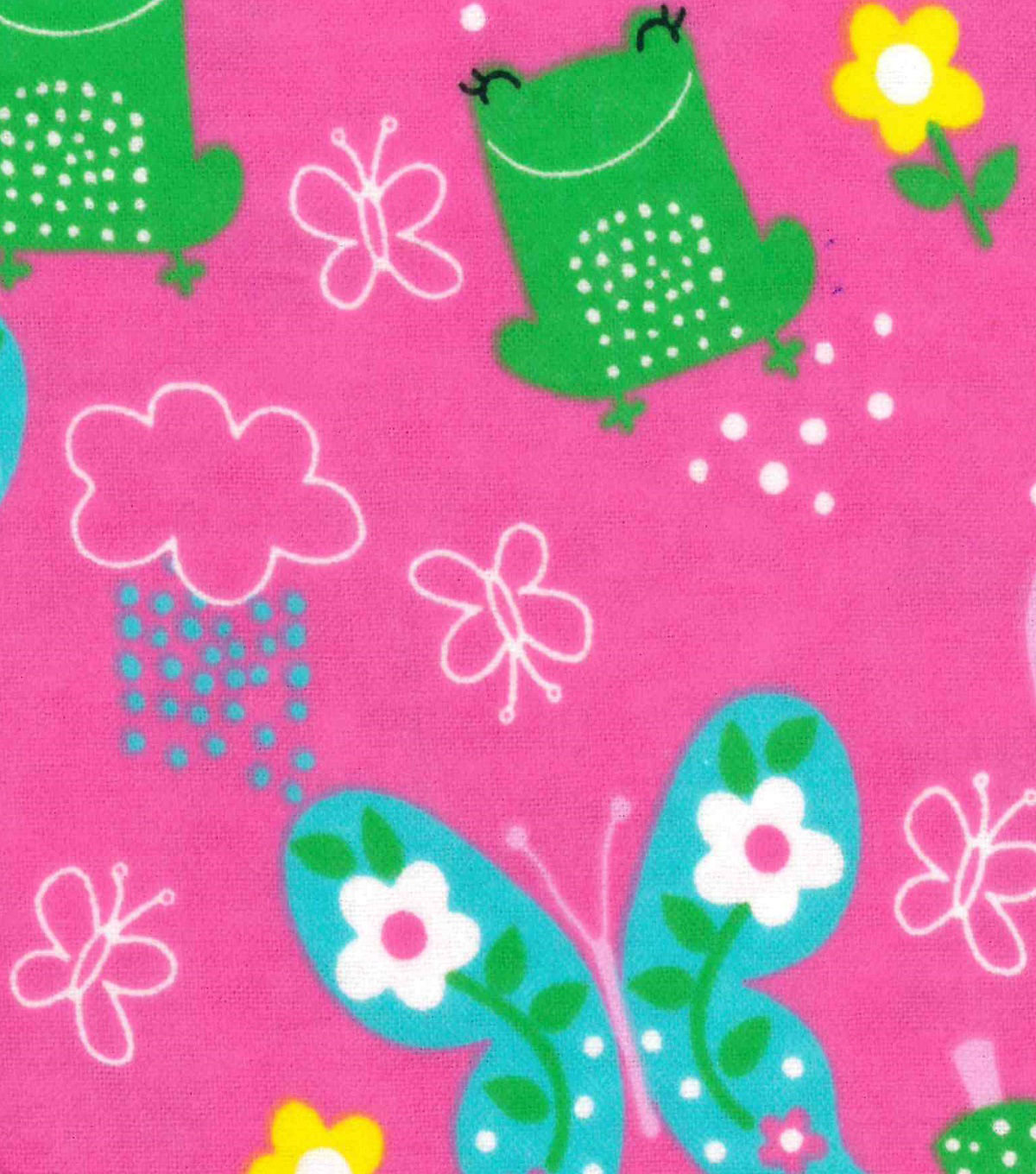 Snuggle Flannel Fabric -Frogs & Butterflies