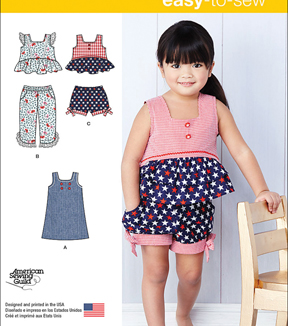 Simplicity Patterns Us1118A-Simplicity Toddlers\u0027 Dress, Top And Cropped Pants Or Shorts-1/2-1-2-3-4
