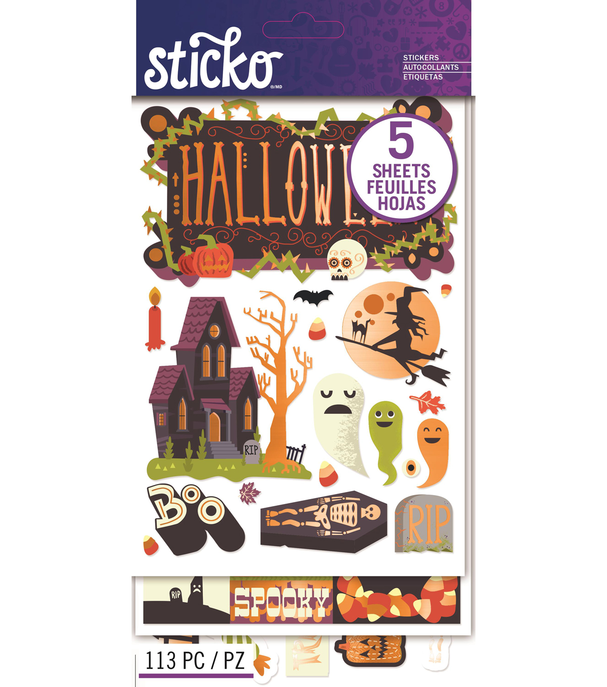 Sticko 113 Pack Flip Stickers-Halloween