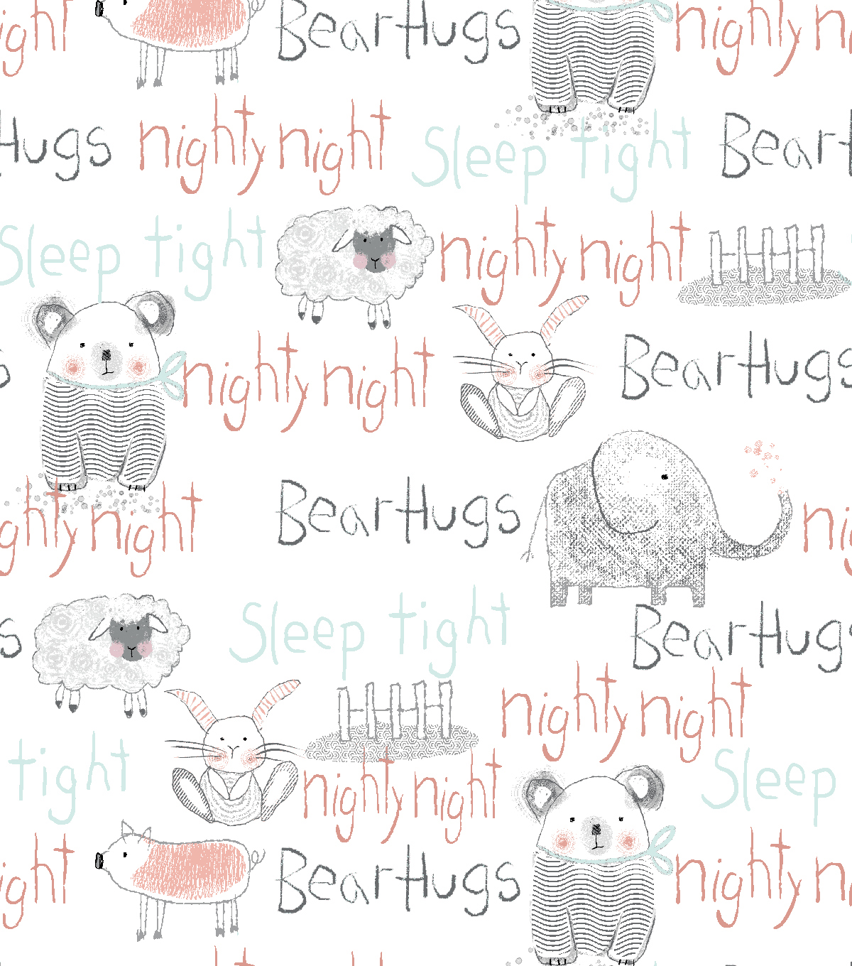 Nursery Flannel Fabric -Whimsy Animal Words