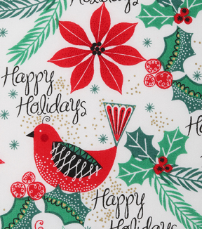christmas cotton fabric 43u0022 happy holiday cardinals