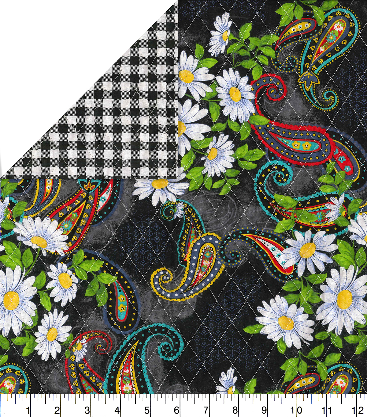 Double Faced Quilt Fabric-Black Check Paisley Daisy