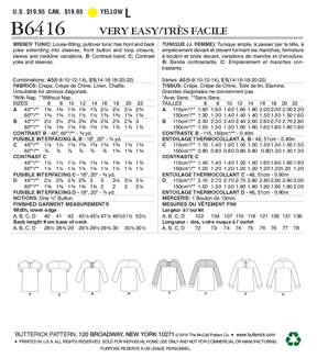 Butterick Pattern B6416 Misses\u0027 Button-Closure Tunics-Size 14-22